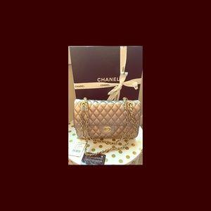 Chanel jumbo quilted champagne metallic handbag